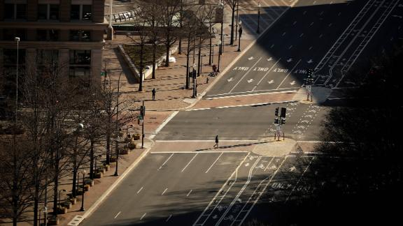 Pennsylvania Avenue in Washington appears empty from the observation deck of the Old Post Office Tower on Friday, January 11.