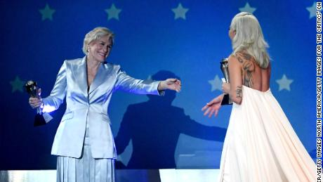 Co-winners Glenn Close and Lady Gaga accept the Critics' Choice award for Best Actress.
