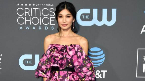 """""""Crazy Rich Asians"""" star Gemma Chan in a custom floral-print dress by Jason Wu."""