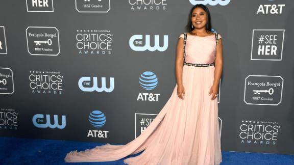 """""""Roma"""" star Yalitza Aparicio in a pink gown by Prada."""