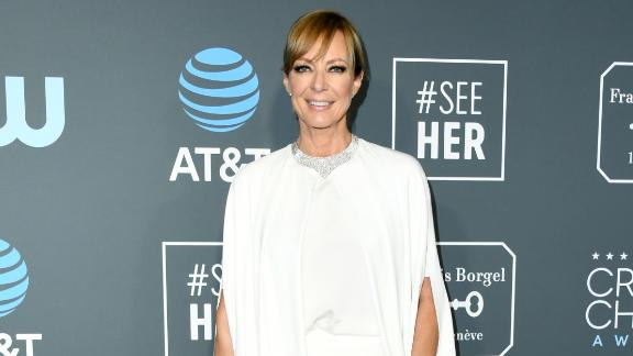Allison Janney went for an all-white ensemble with a draped blouse.