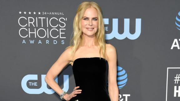 Nicole Kidman stunned in a strapless black-and-white dress by Armani Prive.