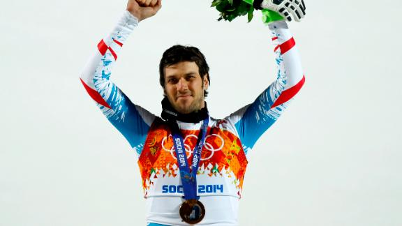 SOCHI, RUSSIA - FEBRUARY 22: (FRANCE OUT) Mario Matt of Austria wins the gold medal during the Alpine Skiing Men