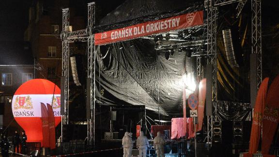 The stage where Pawel Adamowicz was stabbed in Gdansk.