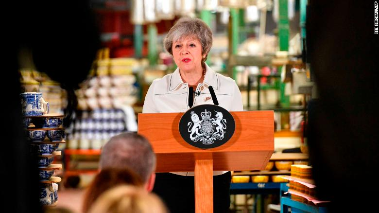 Theresa May speaking in Stoke on Trent.
