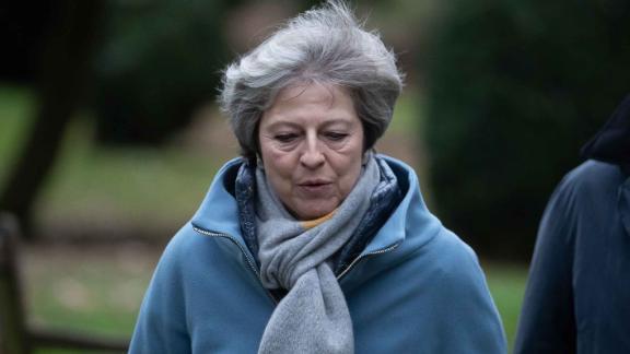 Theresa May leaves church on Sunday.