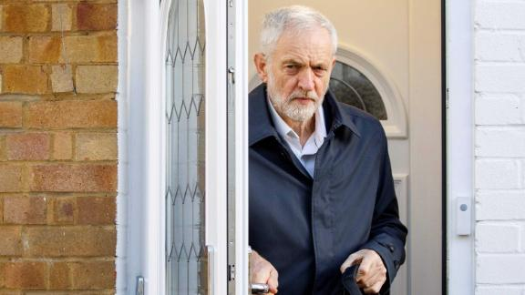 Britain's main opposition Labour Party leader Jeremy Corbyn leaves his home in London.