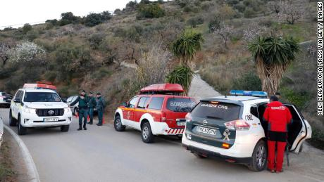 Guardia Civil officers are involved in the operation to rescue the toddler.