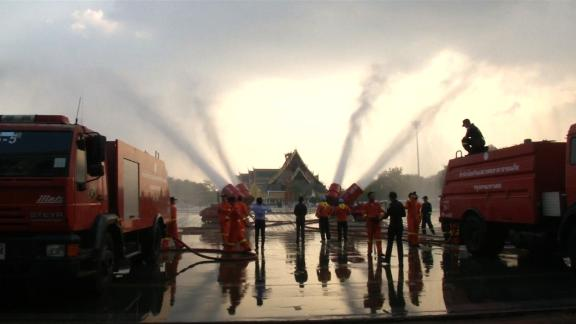 Water cannons were being used on January 14, 2019 to clean the air and streets in Bangkok.