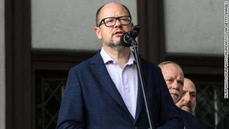 Slain mayor Pawel Adamowicz is pictured in Gdansk on 20 September 2018.