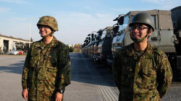 Pvt. Hiroki Yasugahara (left) and Pvt. Katsunari Takahashi (right) are both new recruits.
