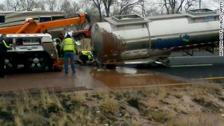 Arizona DPS shared this image of crews working to tow the damaged tanker.