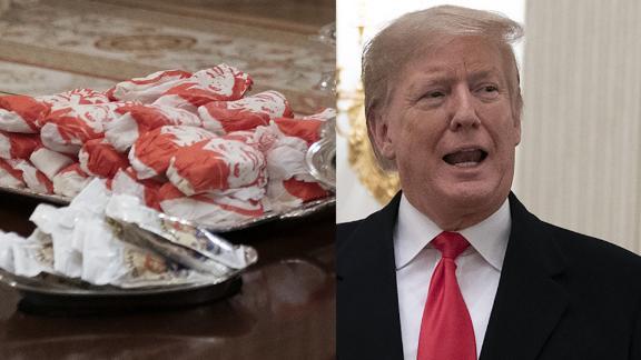 Trump caters Wendys McDonalds Burger King Clemson Tigers White House sot_00000000.jpg