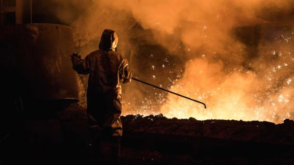 A worker at the ThyssenKrupp steelworks in Duisburg, Germany.