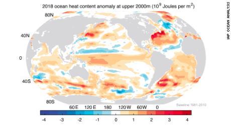 Ocean heat content (OHC) in the upper 2000m during 2018.