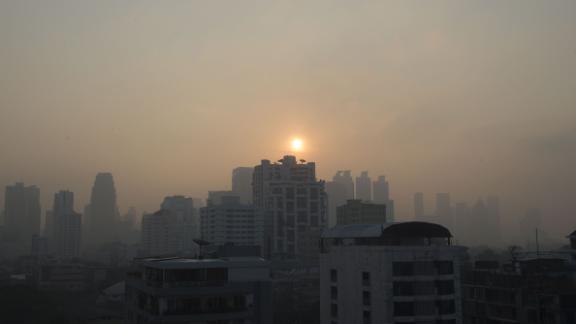 A layer of smog blankets the Thai capital Bangkok on January 14, 2019.