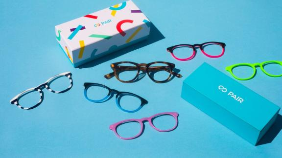 Pair Eyewear makes kids' glasses that come with snap-on frames in different colors and patterns.