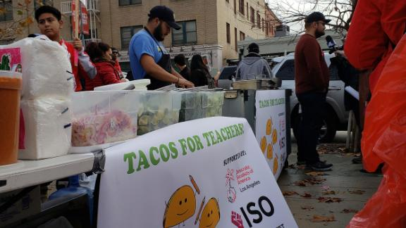 """""""Tacos for Teachers"""" feeds some of the thousands of people participating in LA teacher strike."""