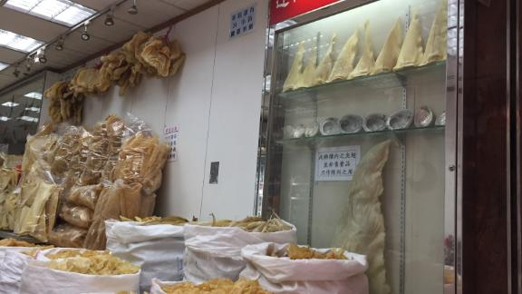 Shark fin is easily accessible in Hong Kong at the Dried Food Market.