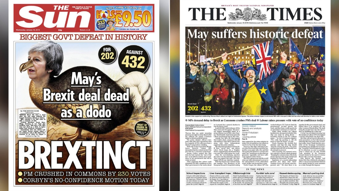 What the front pages say: May's Brexit deal 'dead as a dodo'