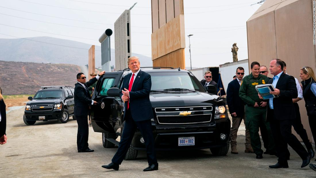 "Trump arrives in the San Diego neighborhood of Otay Mesa to view <a href=""https://www.cnn.com/2018/03/13/politics/trump-border-wall-prototypes-visit/"" target=""_blank"">border wall prototypes</a> on March 13."