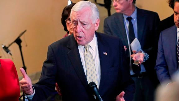 House Majority Leader Steny Hoyer (D-MD) speaks with reporters outside the House Chamber on Capitol Hill in Washington, DC on January 3, 2019. (ALEX EDELMAN/AFP/Getty Images)