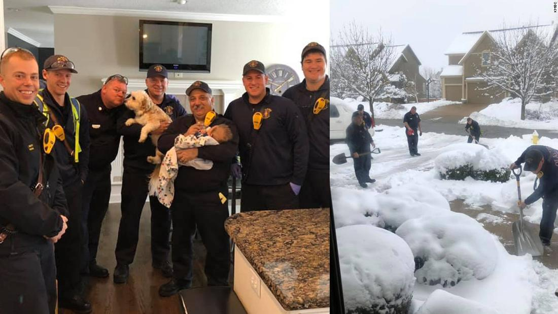 Mom calls 911, firefighters feed baby, shovel driveway