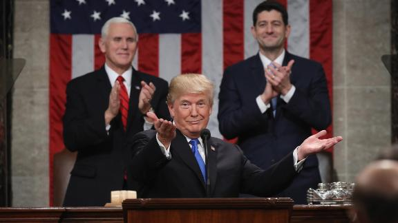 US President Donald J. Trump delivers the State of the Union address on January 30, 2018, as US Vice President Mike Pence (L) and then-Speaker of the House US Rep. Paul Ryan (R-WI) (R) look on in the chamber of the US House of Representatives in Washington, DC. (Photo by Win McNamee/Getty Images)