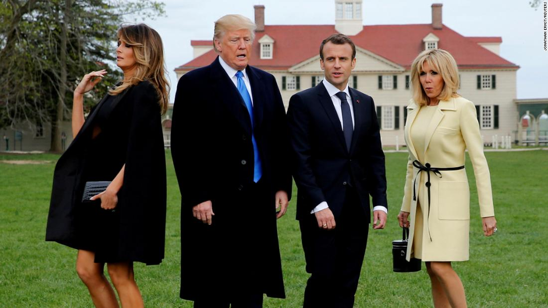 "From left, first lady Melania Trump, President Trump, French President Emmanuel Macron and Brigitte Macron prepare to have their picture taken on a visit to the estate of the first US president, George Washington, in Mount Vernon, Virginia, on April 23. ""I'm always happy for events that take us off the White House campus and provide new visual opportunities,"" said photographer Jonathan Ernst. ""This day, when the Trumps feted the Macrons at George Washington's historic estate, it provided just the right contrast for the stylish leader-couples as they took their spots for an otherwise posed moment."""
