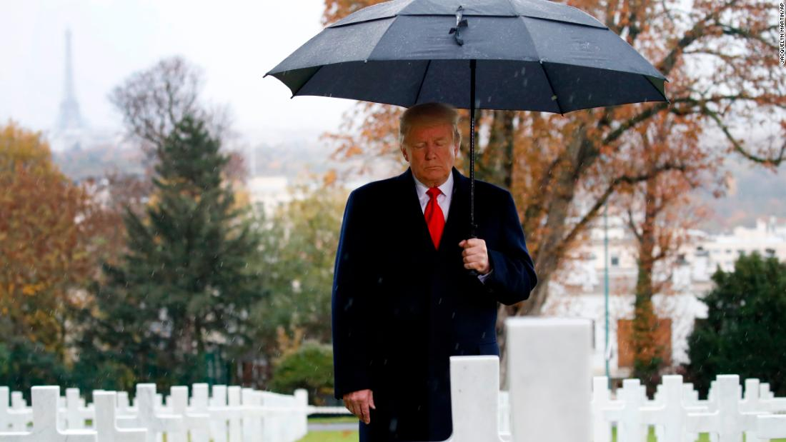 "Trump visits the Suresnes American Cemetery, outside Paris, on Veterans Day. Trump was in France along with other world leaders to mark <a href=""https://www.cnn.com/2018/11/11/europe/world-war-i-armistice-centenary-intl/index.html"" target=""_blank"">the 100th anniversary of the World War I armistice.</a>"