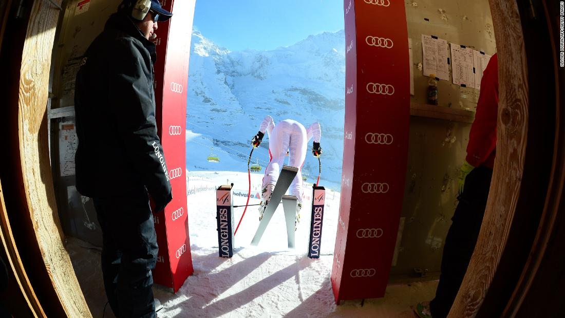The downhill is the longest on the circuit at about 2.85 miles and takes about two-and-a-half minutes from the start hut on the Lauberhorn mountain back into Wengen.