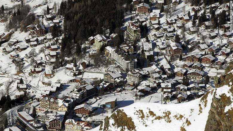 Car-free Wengen is a mix of timber-clad chalets and 19th century hotels perched on a shelf above the Lauterbrunnen valley.
