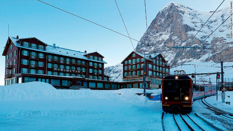 The mountain railway from Wengen trundles up to the small hamlet of Kleine Scheidegg in the shadow of the Eiger's north wall, from where racers disembark to get a chairlift to the Lauberhorn start.