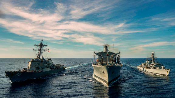 Pictured: HMS Argyll takes part in a replenishment at sea with the USS McCampbell and USNS Henry J Kaiser whilst operating in the South China Sea.HMS ARGYLL TAKES PART IN TWO SHIP RASOn Saturday 12th January 2019 HMS Argyll took part in a Replenishment At Sea whilst operating in the South China Sea. The RAS although routine was slightly different given that she was RASing the same time as the USS McCampbell from the same tanker, the USNS Henry J Kaiser. The serial requires excellent communication skills and teamwork to enable both ships to successfully take fuel whilst at the same time minimise the inherent dangers associated with a RAS.Credit: LPhot Dan RosenbaumHMS Argyll