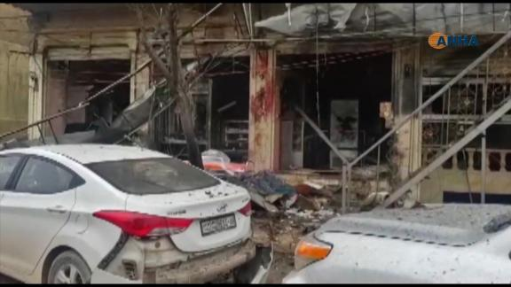 An image grab taken from a video published by Hawar News Agency (ANHA) on January 16, 2019, shows the aftermath of a suicide attack in the northern Syrian town of Manbij. - A suicide attack targeting US-led coalition forces in the flashpoint northern Syrian city of Manbij killed a US serviceman and 14 other people today, a monitor said. (Photo by - / various sources / AFP)        (Photo credit should read -/AFP/Getty Images)