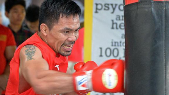 Left-handed boxer Manny Pacquiao, pictured in May 2018, won 10 world titles in eight weight divisions.
