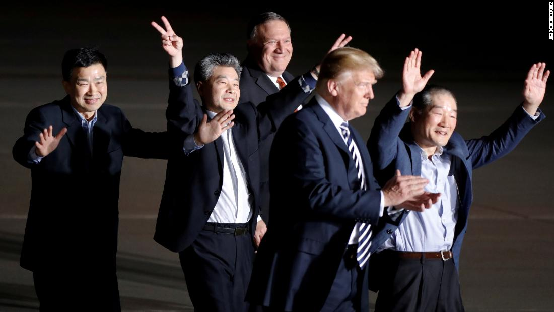 "Three Americans <a href=""https://www.cnn.com/2018/05/10/politics/trump-north-korea-freed-americans/index.html"" target=""_blank"">released by North Korea</a> are welcomed at Andrews Air Force Base in Maryland by President Trump and Secretary of State Mike Pompeo on May 10. Kim Dong Chul, Kim Hak-song and Kim Sang Duk, also known as Tony Kim, were freed while Pompeo was visiting North Korea to discuss Trump's upcoming summit with North Korean leader Kim Jong Un."