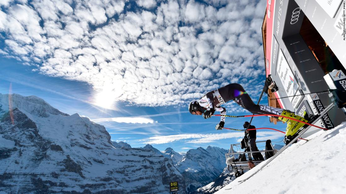 The course plunges back to Wengen against the backdrop of the Eiger and the mighty Monch and Jungfrau mountains in the Bernese Oberland.