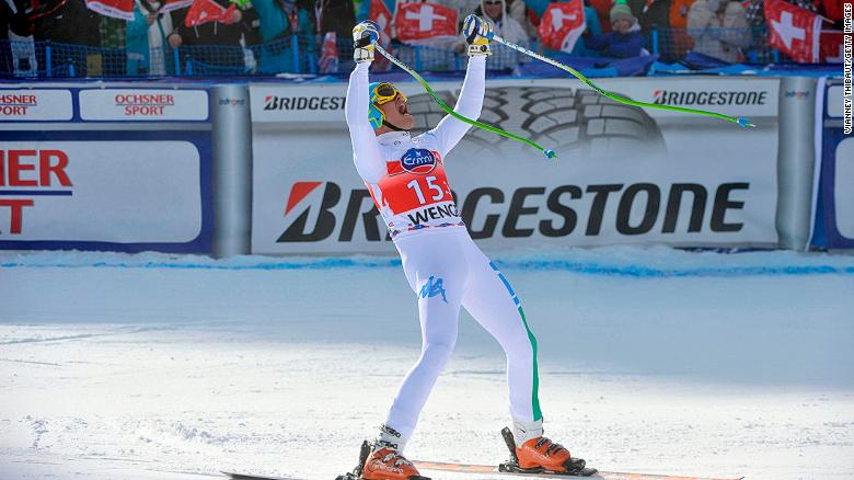 A downhill win at Wengen is a coveted crown among ski racers. Italy's Christof Innerhofer took the honors in 2013.