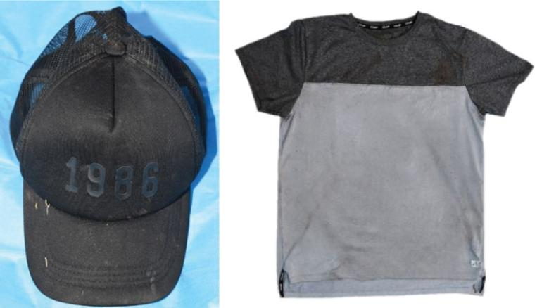The shirt and cap found by authorities.