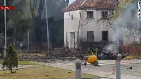 Rubble litters the ground after the attack at a Colombian police academy Thursday.