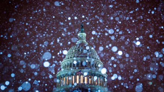 The Capitol amid the snowfall on January 13.