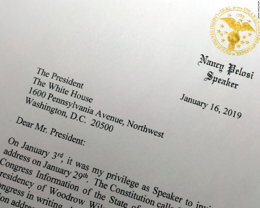 "A portion of a letter that House Speaker Nancy Pelosi sent to President Trump on January 16 asks him to <a href=""https://www.cnn.com/2019/01/16/politics/nancy-pelosi-asks-trump-move-state-of-the-union-address/index.html"" target=""_blank"">postpone his upcoming State of the Union address</a> until the government reopens."