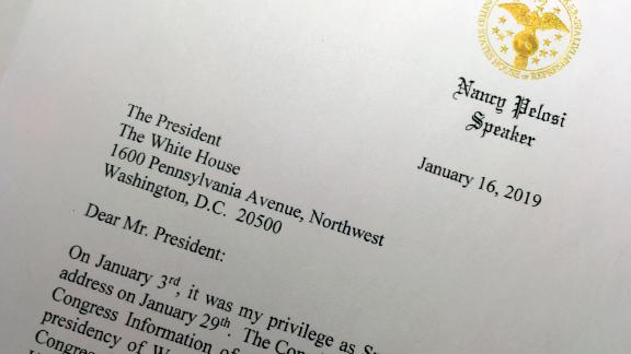 A portion of a letter that House Speaker Nancy Pelosi sent to President Trump on January 16 asks him to postpone his upcoming State of the Union address until the government reopens.