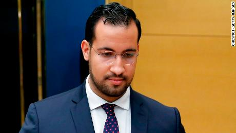 Alexandre Benalla attends a hearing by senators on September 19, 2018 in Paris after a video showed him wearing police uniform while attacking protesters during May Day demonstrations.