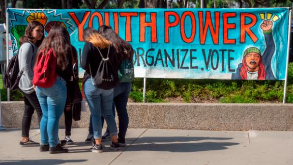 NORWALK, CA - OCTOBER 24: Youth Power posters motivate high school students to vote during the Power California event in Norwalk on Wednesday, October 24, 2018.  (Photo by Mindy Schauer/Digital First Media/Orange County Register via Getty Images)