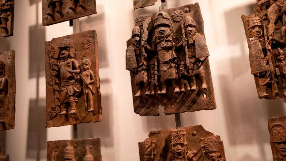 Plaques forming part of the Benin Bronzes on displayed at the British Museum, which has agreed to loan the plaques to a new museum in Benin City, Nigeria.