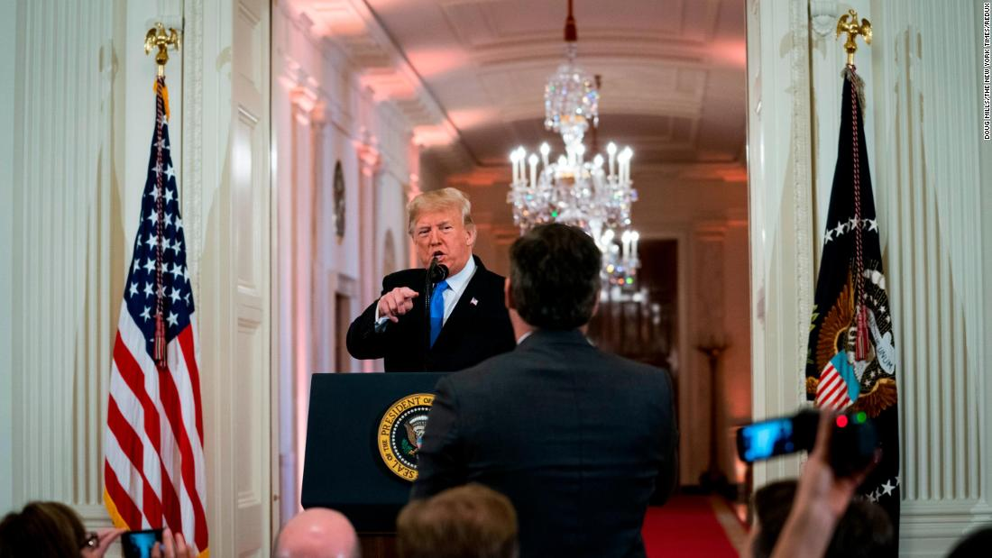 "Trump has a contentious exchange with CNN's Jim Acosta at a White House news conference November 7. Later that day, in a stunning break with protocol, the White House said that it was <a href=""https://www.cnn.com/2018/11/07/media/trump-cnn-press-conference/index.html"" target=""_blank"">suspending Acosta's press pass</a> ""until further notice."" A federal judge later ordered the White House to <a href=""https://www.cnn.com/2018/11/16/media/cnn-trump-lawsuit-hearing/index.html"" target=""_blank"">return Acosta's press pass.</a>"