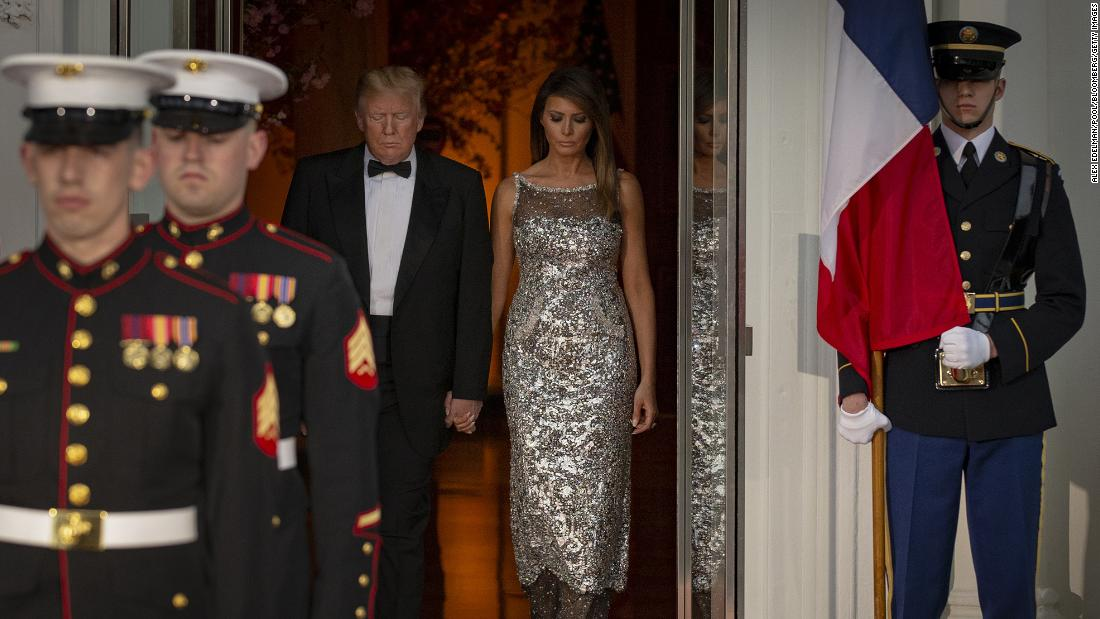 "The President and first lady Melania Trump arrive to greet French President Emmanuel Macron and his wife, Brigitte, ahead of <a href=""https://www.cnn.com/2018/04/23/politics/white-house-state-dinner-macron-trump/index.html"" target=""_blank"">a state dinner at the White House</a> on April 24. It was the first official state visit of Trump's presidency."