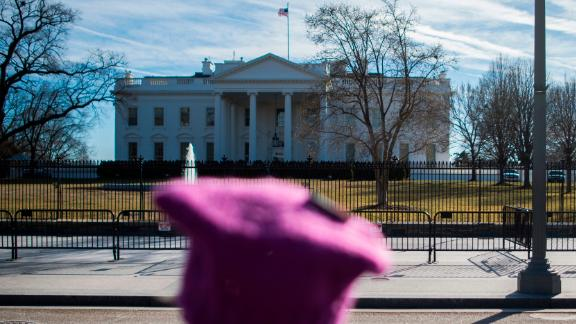 A protester looks toward the White House following the Women's March on Washington 2018: March On The Polls! on the National Mall on January 20, 2018 in Washington DC. / AFP PHOTO / Andrew CABALLERO-REYNOLDS        (Photo credit should read ANDREW CABALLERO-REYNOLDS/AFP/Getty Images)